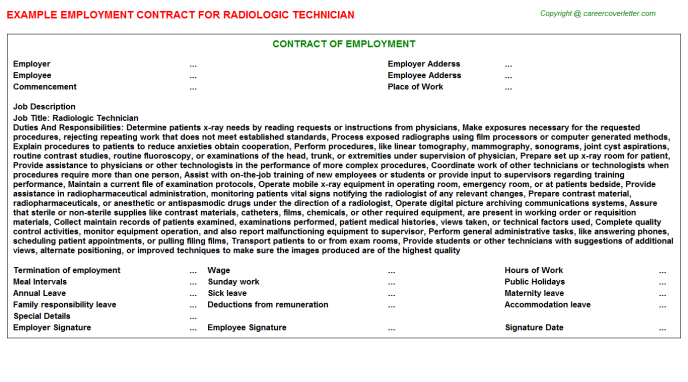 Radiologic Technician Employment Contract Template