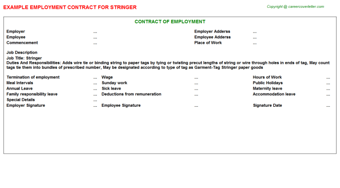 Stringer Employment Contract Template
