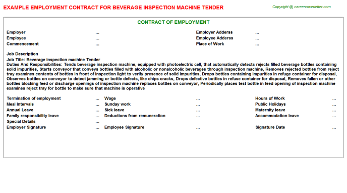 beverage inspection machine tender employment contract template