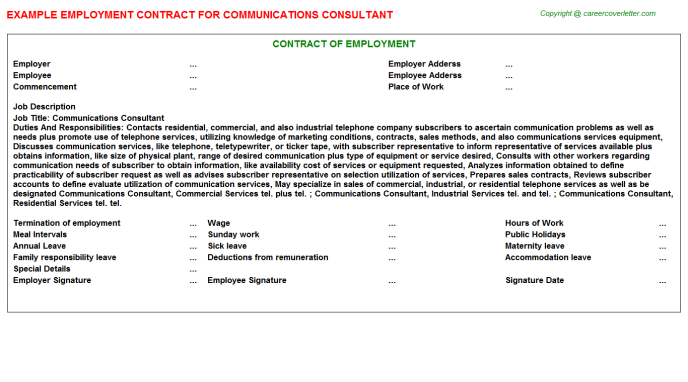 communications consultant employment contract template