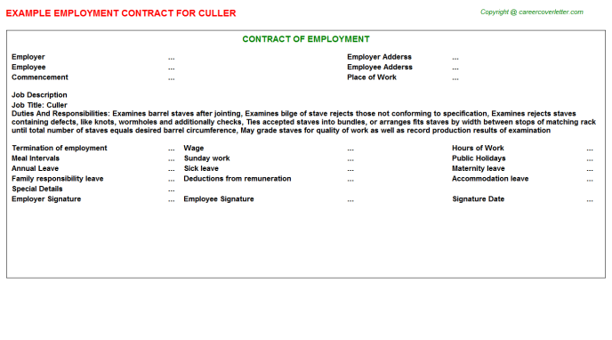 Culler Employment Contract Template