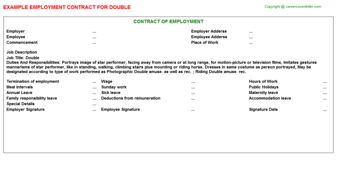 Double Employment Contract Template