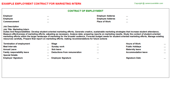 Marketing Intern Employment Contract Template