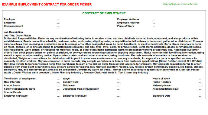 Order Picker Employment Contract Template