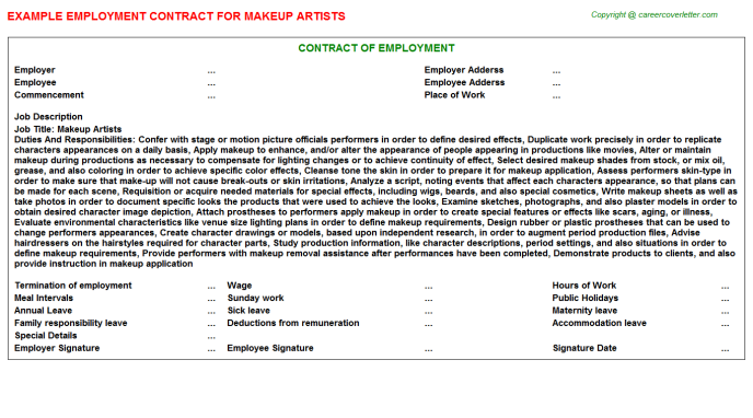 Makeup Artists Employment Contract