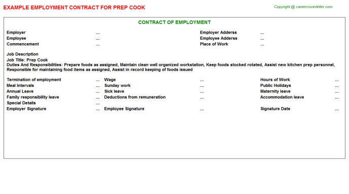 Prep Cook Employment Contract Template