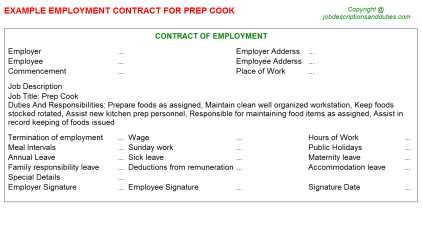 Prep Cook Job Employment Contract Template