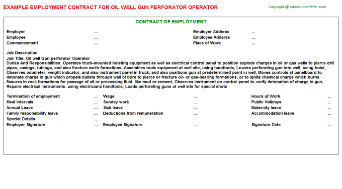 Oil well Gun perforator Operator Employment Contract