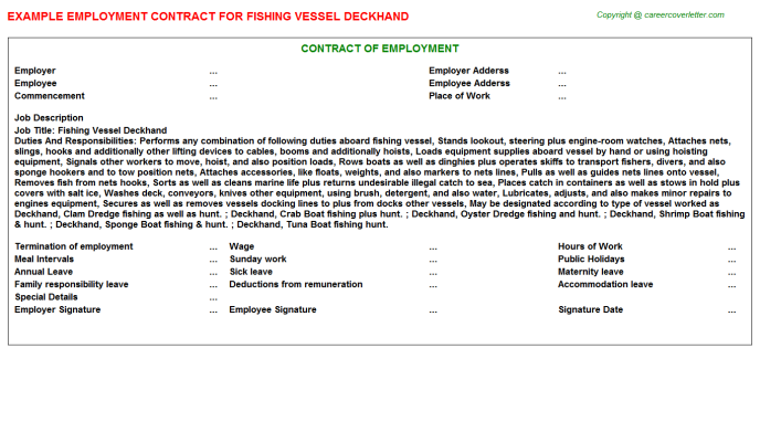 Fishing Vessel Deckhand Employment Contract Template