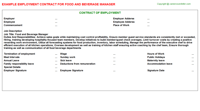Food And Beverage Manager Employment Contract Template
