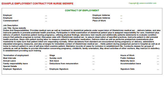 nurse midwife employment contracts