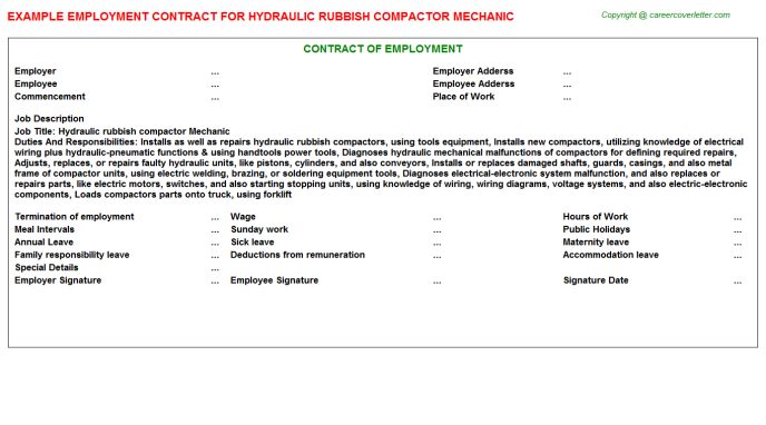 Hydraulic rubbish compactor Mechanic Job Employment Contract Template