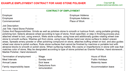 Hand Stone Polisher Job Employment Contract Template