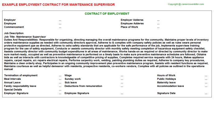 Maintenance Supervisor Employment Contract Template