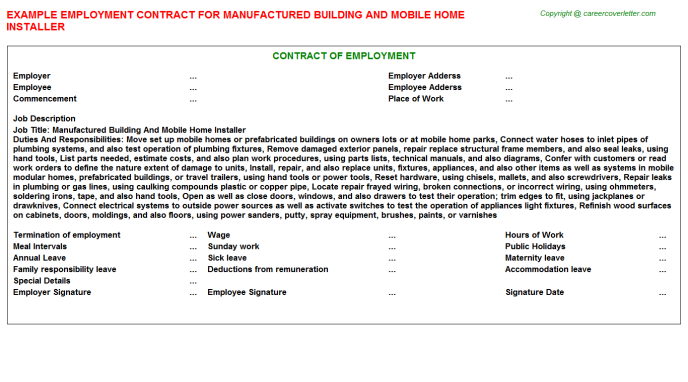 Manufactured Building And Mobile Home Installer Employment Contract