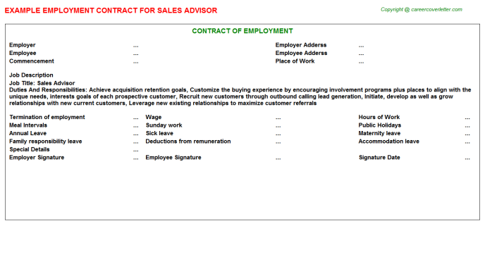 Sales Advisor Employment Contract Template