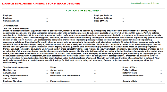 Interior Designer Employment Contract Template