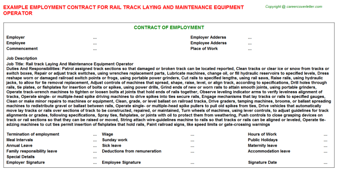 Rail Track Laying And Maintenance Equipment Operator Employment Contract Template