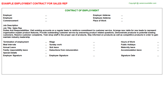Sales Rep Employment Contract Template