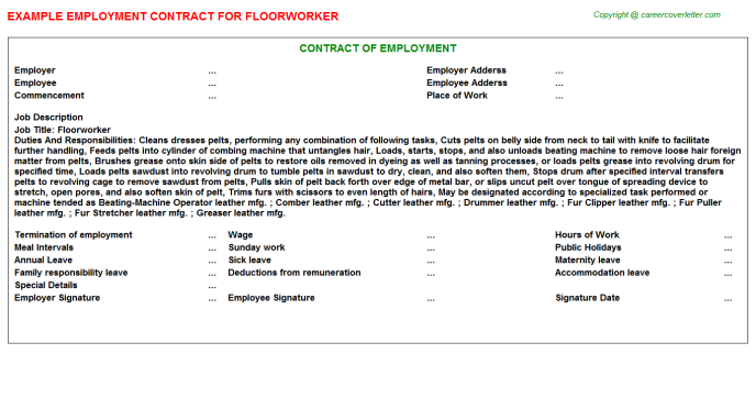 Floorworker Employment Contract Template