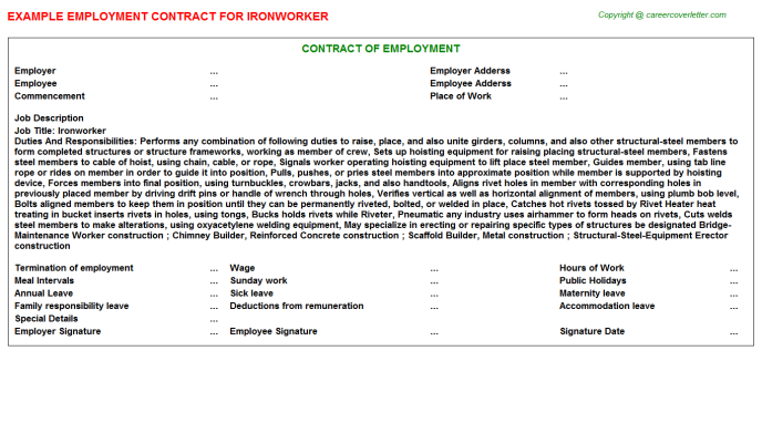 Ironworker Employment Contract Template