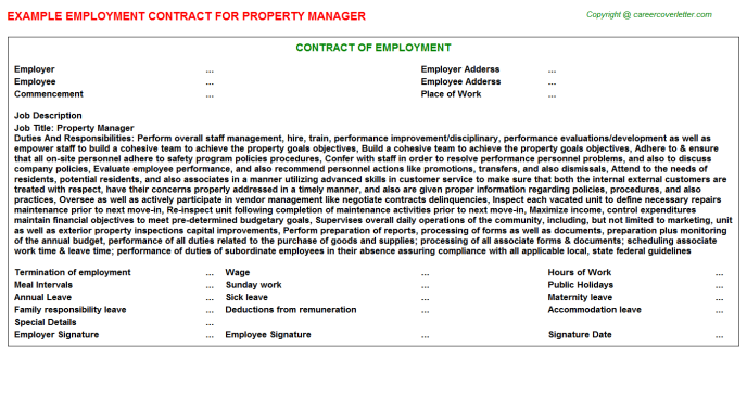 Property Manager Employment Contract Template