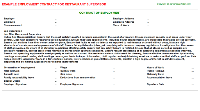 Restaurant Supervisor Employment Contract Template
