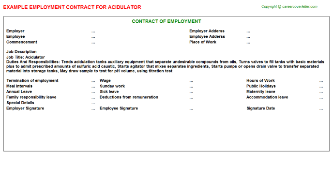 Acidulator Job Employment Contract Template