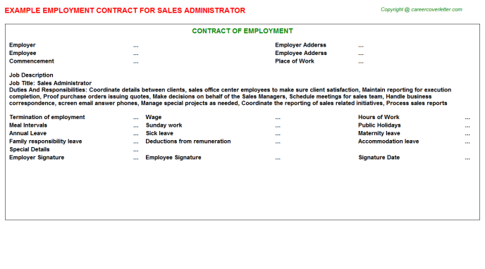 Sales Administrator Employment Contract Template
