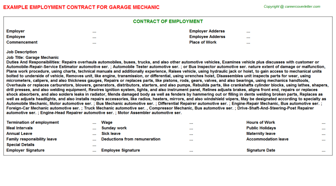 Garage Mechanic Employment Contract Template