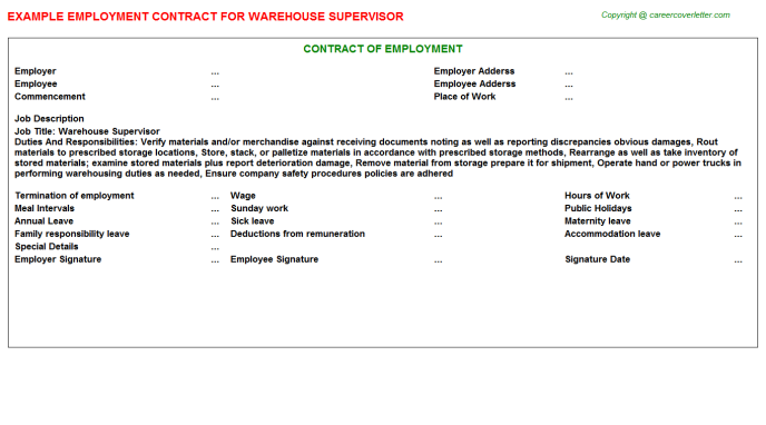 Warehouse Supervisor Employment Contract Template