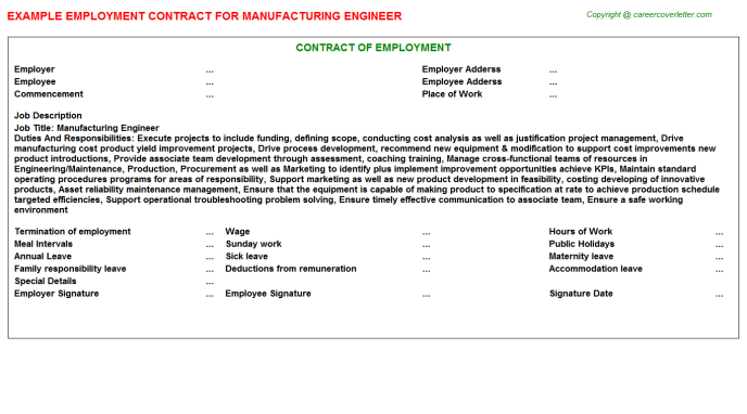 Manufacturing Engineer Employment Contract Template