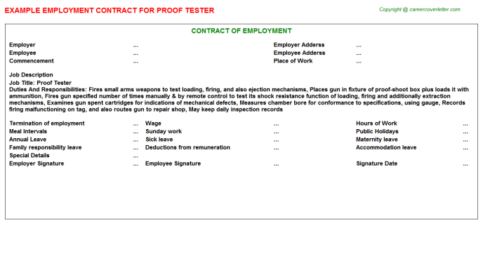 Proof Tester Job Employment Contract Template