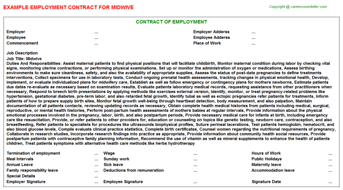 Midwive Employment Contract Template
