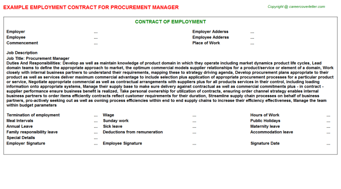 Procurement Manager Employment Contract Template