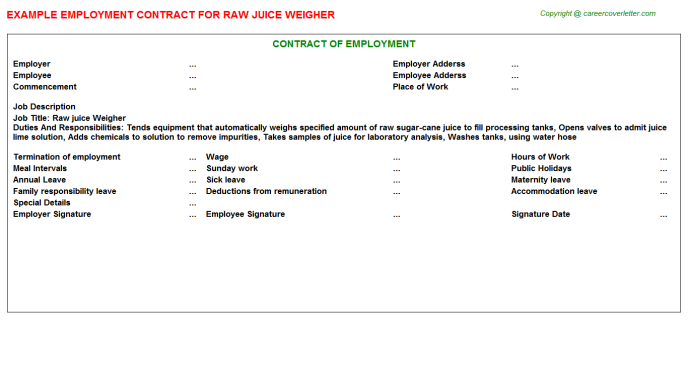 Raw Juice Weigher Employment Contract Template