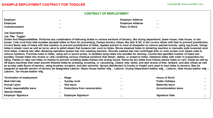 Toggler Job Employment Contract Template