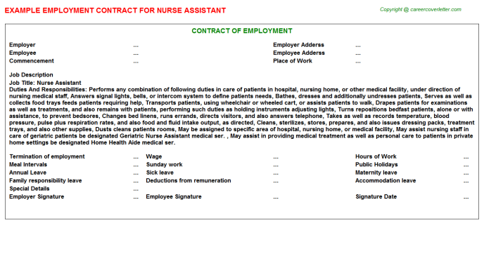 Nurse Assistant Employment Contract Template