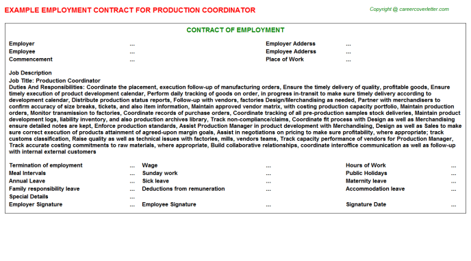 Production Coordinator Employment Contract Template