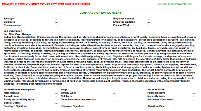 Farm Manager Employment Contracts