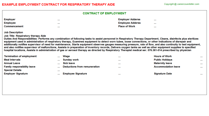 Respiratory Therapy Aide Employment Contract Template