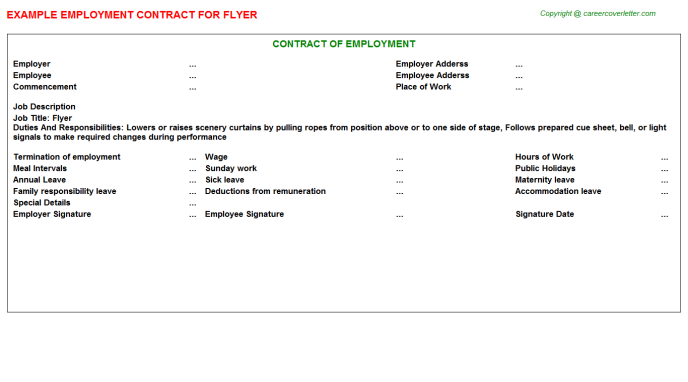 Flyer Employment Contract Template