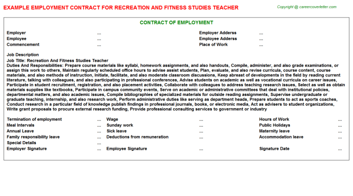 Recreation And Fitness Studies Teacher Employment Contract Template