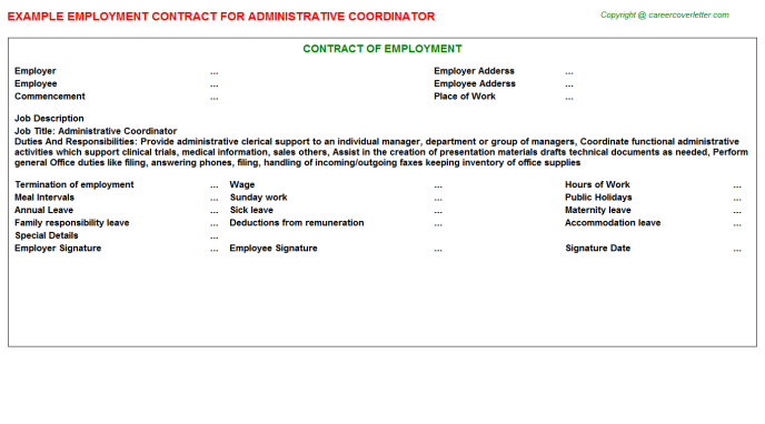 Administrative Coordinator Employment Contract Template