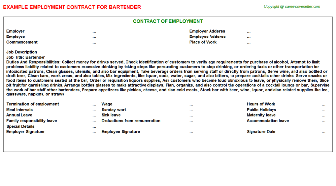 Bartender Employment Contract Template