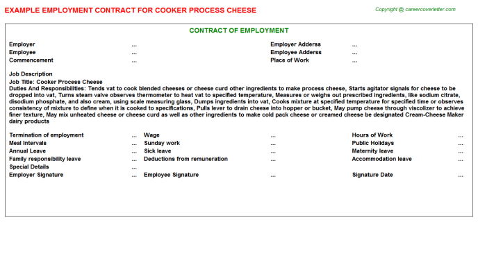 Cooker Process Cheese Employment Contract
