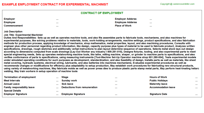experimental machinist employment contract template