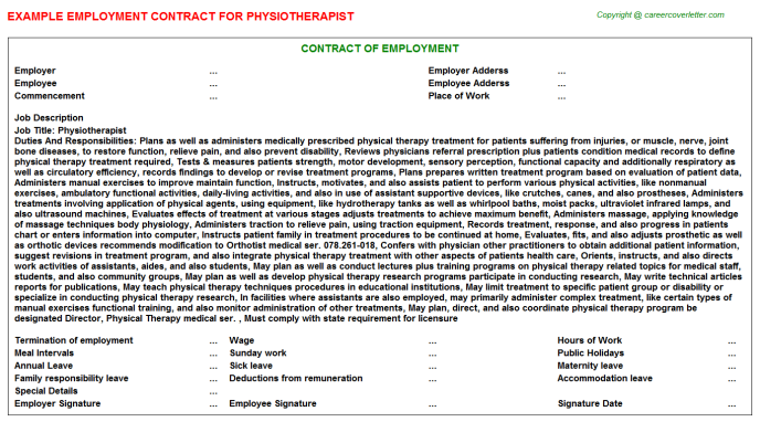 Physiotherapist Job Employment Contract Template