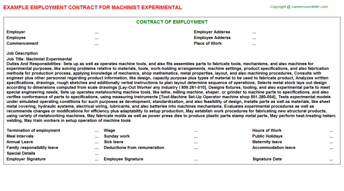machinist experimental employment contract template