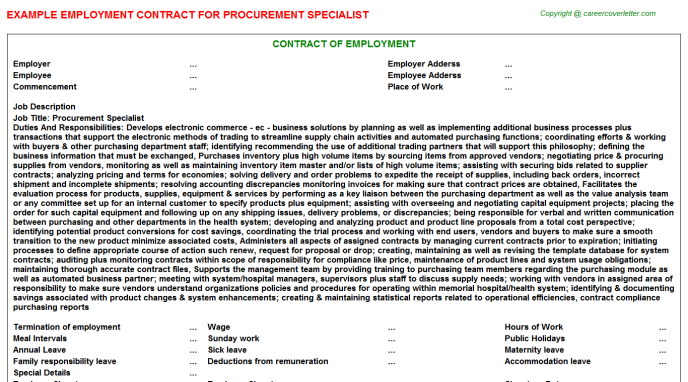 Procurement Specialist Employment Contract Template